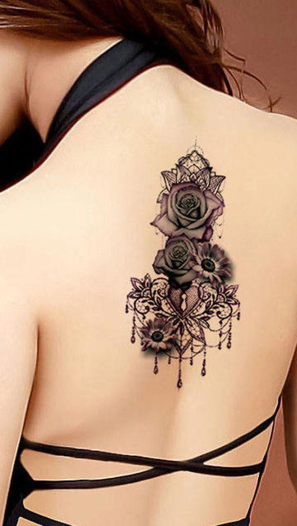477ce7664 Gothic Rose Mandala Chandelier Back Tattoo ideas for Women - Traditional  Vintage Cool Unique Geometric Black