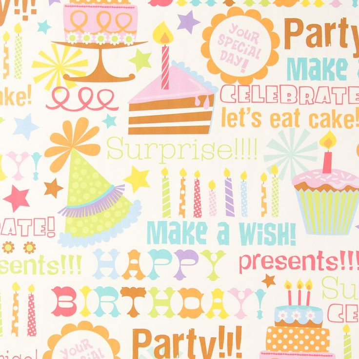 Multi Text Whimsy Birthday Roll Wrap Wrapping Paper