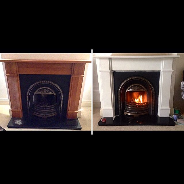 Our fireplace before and after - sanded, primed and finished with Dulux Satinwood quick dry in Timeless. Such an improvement. Let the transformation commence. #duluxpaint #timeless