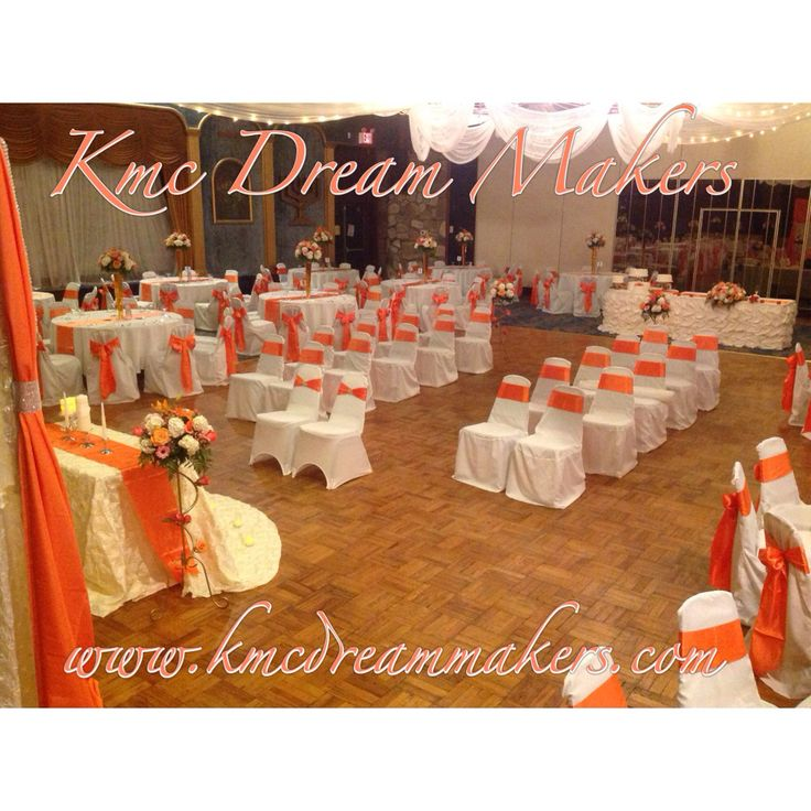 Ceremony And Reception In Same Room: Orange Wedding We Did For A Bride & Groom. The Ceremony