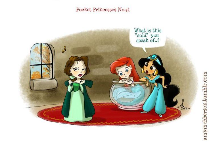 Pocket Princesses by Amy Mebberson  # 32- If Disney princesses lived together: Snow White, Ariel, and Jasmine