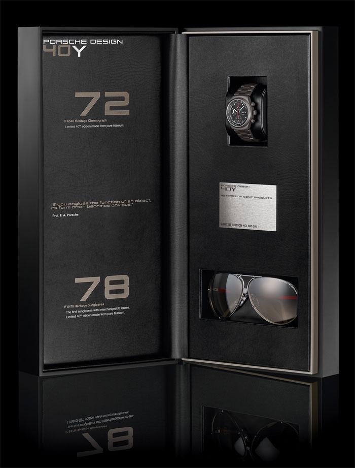 Para celebrar o lançamento do primeiro cronógrafo da Porsche Design em 1972 e dos óculos em 1978 a marca lança uma edição limitada a 911 Coffrets Relógio+Óculos.