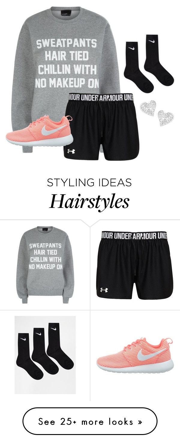"""""""Sweatpants, Hair Tied, Chillin' With No Makeup On."""" by ehansen1-20 on Polyvore featuring Private Party, NIKE, Vivienne Westwood, women's clothing, women, female, woman, misses and juniors"""
