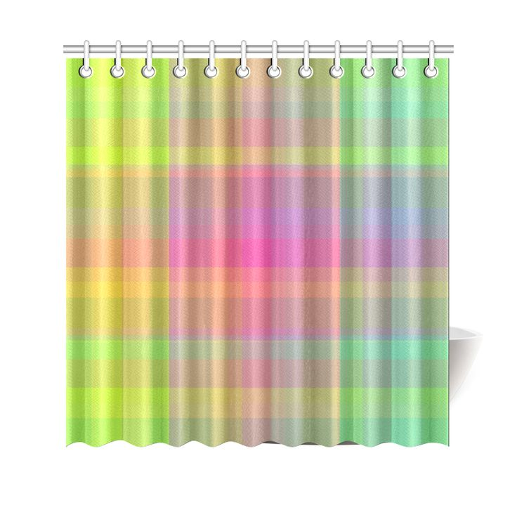 Florescent Rainbow Check Shower Curtain 69