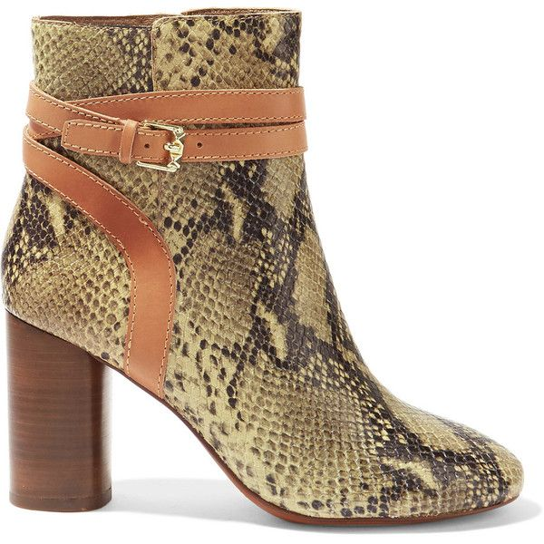 ASH Glenda snake-effect leather ankle boots (535 ILS) ❤ liked on Polyvore featuring shoes, boots, ankle booties, snake print, tan leather boots, tan leather booties, buckle ankle boots, high heel boots and snake print boots