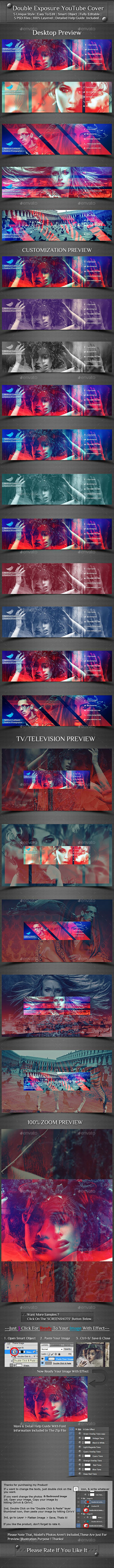 Double Exposure YouTube Cover Template PSD