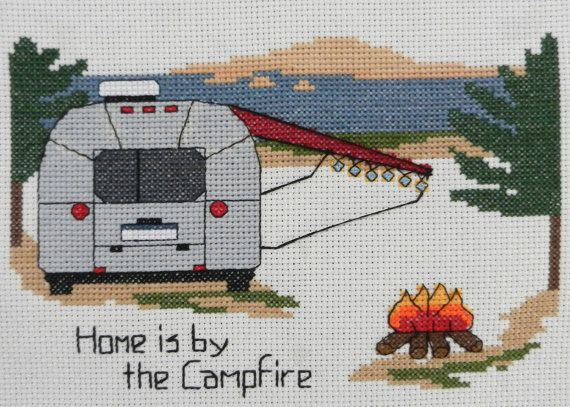 """""""Airstream - Home is by the Campfire"""" - Cross Stitch Pattern or Kit - Camp Cross Stitch"""
