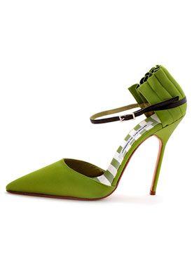 Manolo Blahnik Bujaye Green Satin High Heels