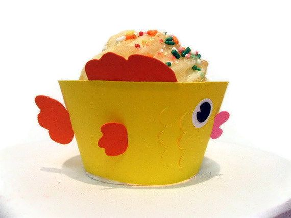 Fish Cupcake Wrappers  Pick Your Colours or Add by cakeadoodledoo, $17.00