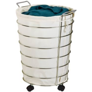 This canvas and chrome laundry hamper is durable and stylish! College kids can keep dirty clothes off the floor and their space neat and clean with this attractive laundry container.