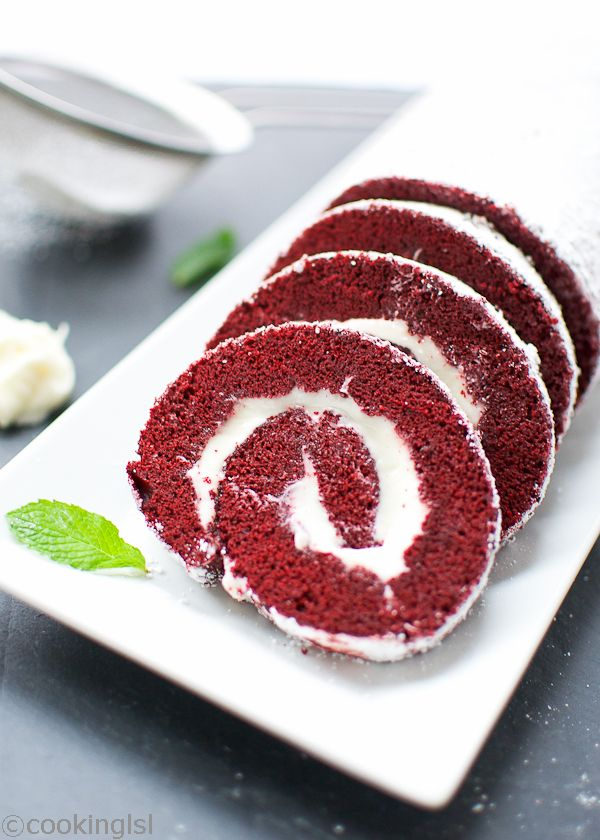 Red Velvet Cake Roll With Cream Cheese Filling - delicious and impressive, great for Valentine's Day and Christmas.