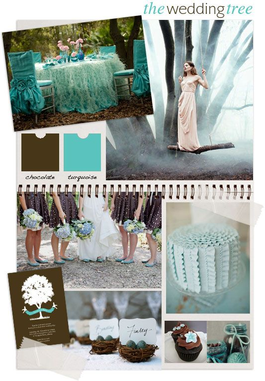 the wedding tree, chocolate brown and turquoise fairytale forest wedding. Mood board by 'i do' it yourself