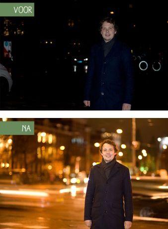 Combineer bij avondfotografie een langere sluitertijd (bijv. 1/4sec) mét flits voor een mooi sfeervol effect. #fotografietip