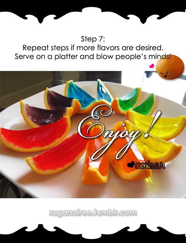 prepare jello as directions in box cut the oranges in half scoop out the inside of orange, pour jello in half shells in place in fridge and once harden cut the orange again in half makes  8 slices.