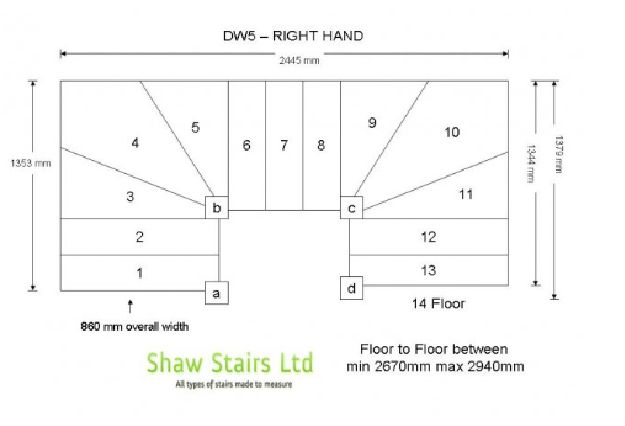 Our Double Winder stairs are designed to turn through two 90 degree turns 180 degrees each turn winder turn has a 3 tread kite winder design or can have a 4 winder design. Our Double winder stairs are made with top quality pine materials and we can make any type of winder stairs bespoke made to fit into your opening space. Delivery to site anywhere in the UK. We also offer Oak, Ash, Hemlock and Hardwood staircases.
