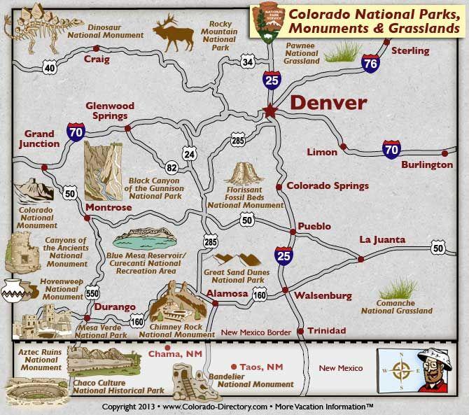 Colorado Usa Map: Colorado National Parks, Monuments And Grasslands Map
