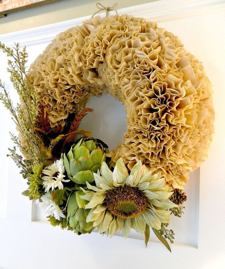 Autumn Coffee Filter Wreath :: Hometalk. Beautiful and easy to make!