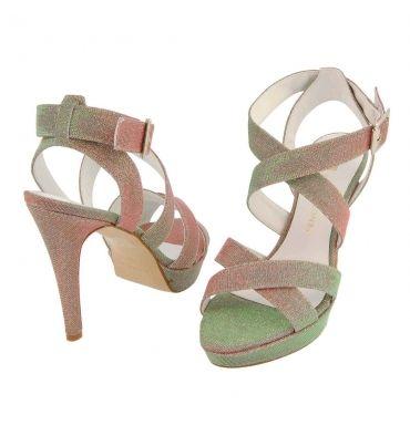 Sandalias tiras cruzadas en tejido brillante - Paula Alonso - Tienda online