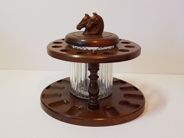 Vintage horse head pipe rack stand holder tobacco humidor