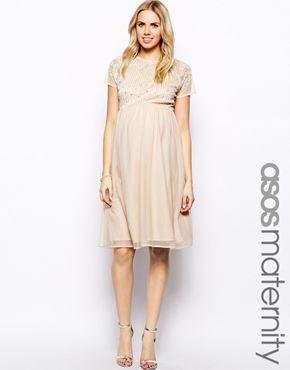 ASOS Maternity Embellished Midi Skater Dress