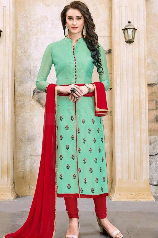 285a48c0e6 Sea Green color Modal Cotton Churidar Suit in 2019 | moda India | Churidar,  Wedding salwar suits, Churidar suits