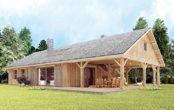 Dom drewniany zapewnia zdrowy mikroklimat. Proj. arch. Sylwia Strzelecka, wizualizacja arch. Paweł Orgański
