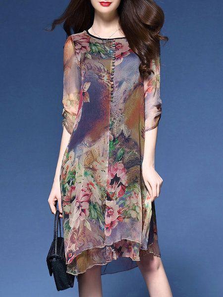 Shop Casual Dresses - Multicolor Casual Asymmetrical Print Dress online. Discover unique designers fashion at justfashionnow.com.
