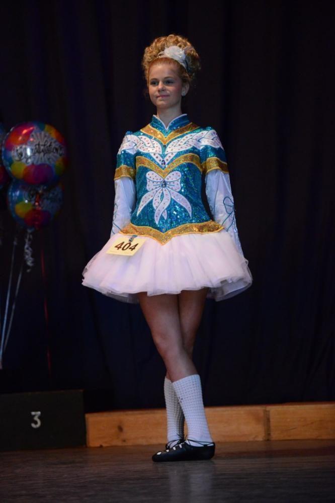 Impressive Turquoise Celtic Art Irish Dance Dress Solo Costume For Sale
