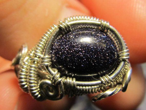 Blue Goldstone Silver Wire Wrapped Ring by DivineTreasurestc, $65.00