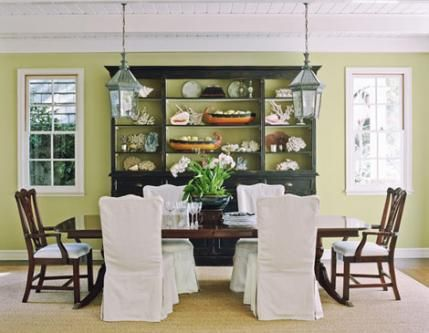 An Antique Hutch And Refinished Dining Table Contrast With Untraditional Color Palette In This Apple