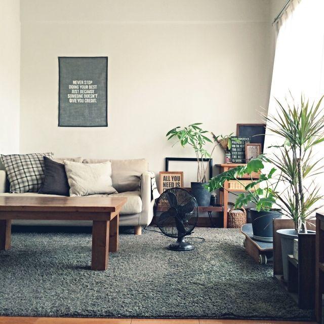 ichikaさんの、カメラマークを消したくて,同じ場所ばかりですみません,ステンシル,扇風機,無印のソファー,男前インテリア目指して,関西好きやねん会,部屋全体,のお部屋写真