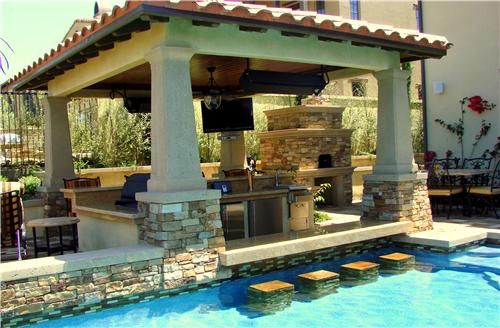 Swimming Pool, Excellent Swimming Pool Designs With Outdoor Kitchen And Swim Up Bar Blueprint Ornament Ideas: Outstanding Swimming Pool Designs With Swim Up Bar Inspiration For Your Home Ideas