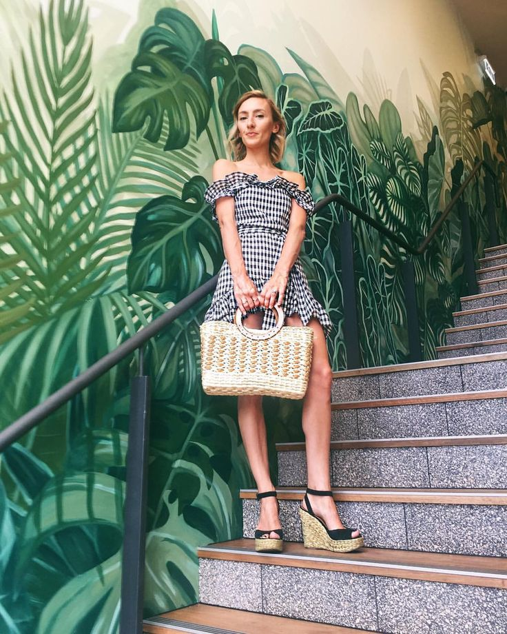 Black and white Gingham dress, straw bag and espadrilles: summer outfit @thelustlife_
