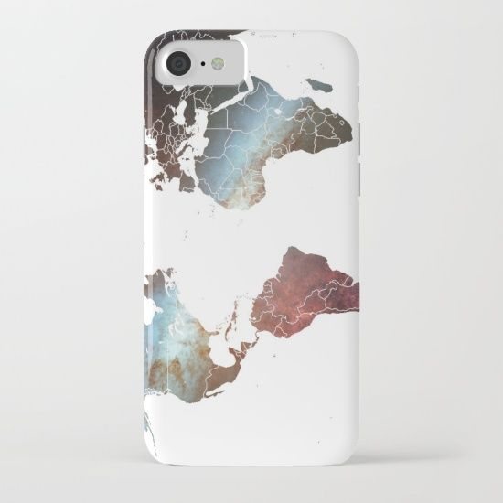 iPhone 7 case - Bright nebula space and galaxy stars background world map globe hipster print iPhone & iPod Case
