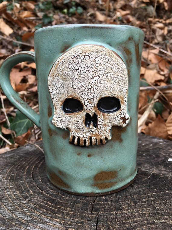 Ceramic Skull Mug in Turquoise by CrookedCuriosities on Etsy