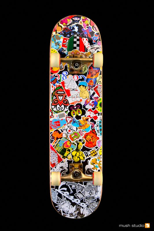 Skate deck sticker bomb