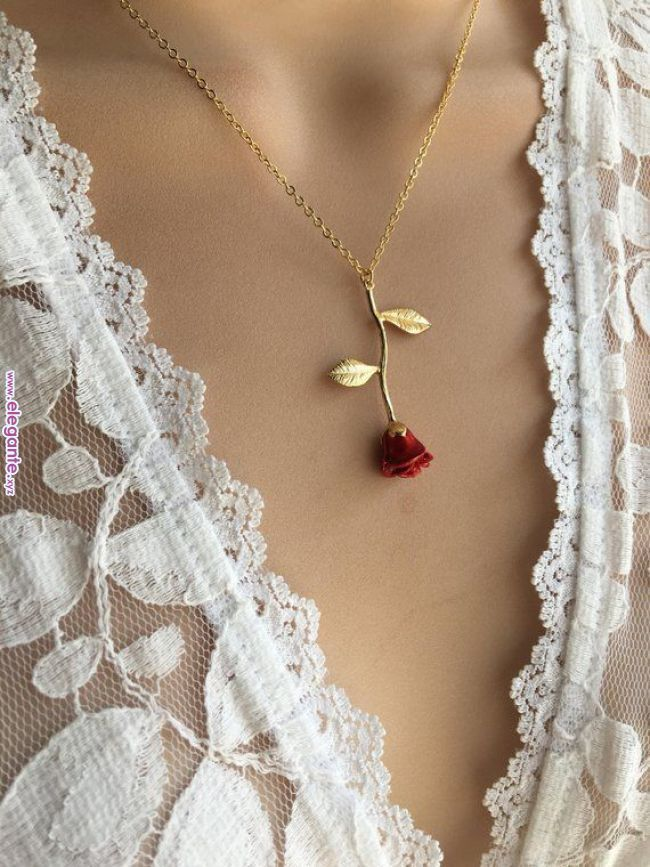 Ursprüngliche rote Rose Halskette Gold Rose Schönheit und das Biest #biest #halskette #schonheit #ursprungliche – Bils Shope Keyfi Ala