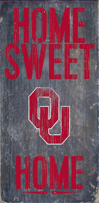 Oklahoma Sooners Wood Sign - Home Sweet Home 6x12