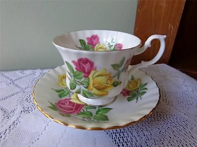 Royal-Albert-Large-Pink-amp-Yellow-Roses-Montrose-Style-Cup-amp-Saucer