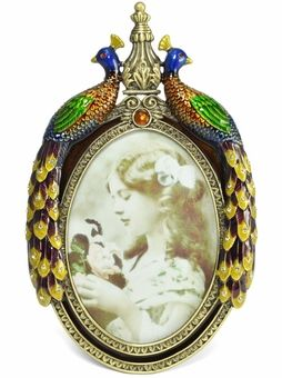 Peacock Crystal Studded Oval Photo Frame: Welforth Peacock Gifts