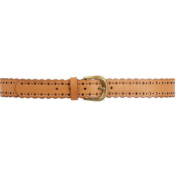 Dorothy Perkins Tan cut out jeans belt ($9) ❤ liked on Polyvore featuring accessories, belts, cintos, tan, gold buckle belt, tan belt and dorothy perkins