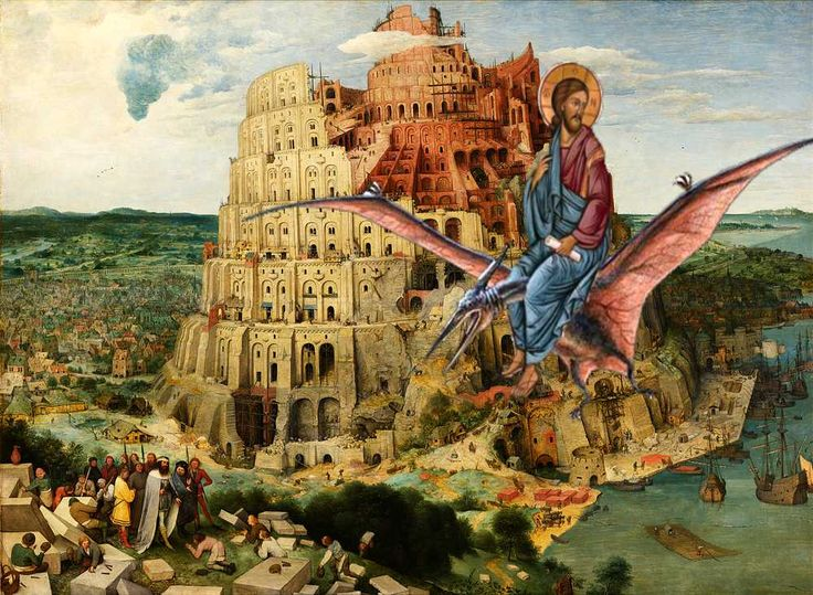 Babel Jesus on a dinosaur