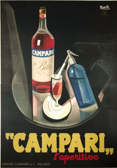 """By  Marcello Nizzoli, 1 9 2 6, """"Campari, l'aperitivo"""" futurist poster for the Italian aperitive. (I)"""