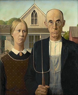 """February 13, 1891: Born, Grant Wood. The American artist is best known for his painting """"American Gothic"""", shown above. He was inspired, he said, by a Gothic revival home in Eldon, Iowa, and decided to paint """"the kind of people I fancied should live in that house."""" His sister and his dentist served as models for the farmer and his daughter."""