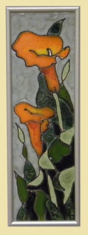 obrazek ceramiczny szkliwiony kwiaty - KRAKÓW