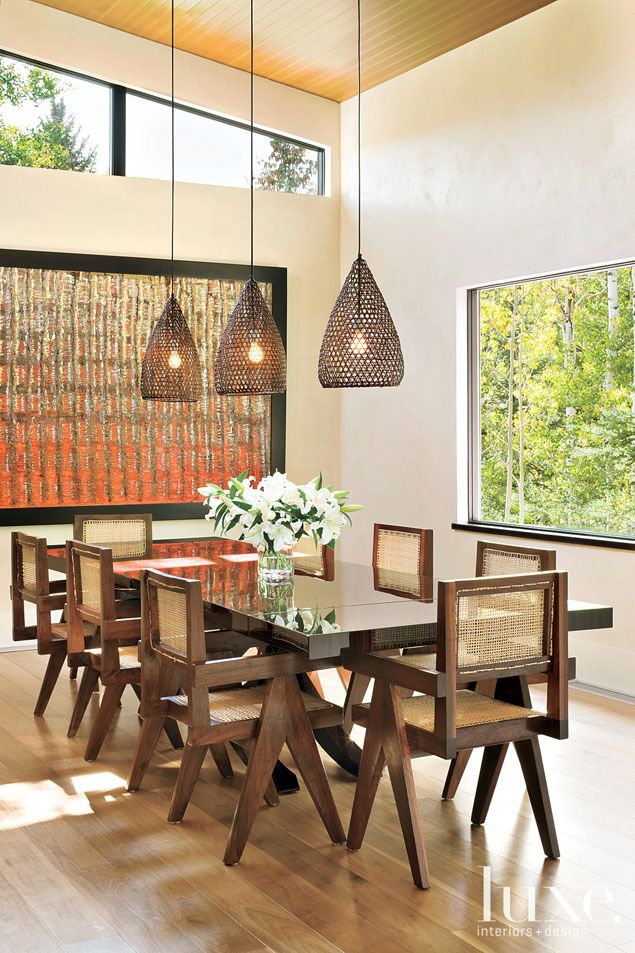 rattan fishing baskets repurposed as light fixtures by tucker robbins and sold through town jeanneret stonecontemporary dining roomscontemporary - Tucker Dining Room Set