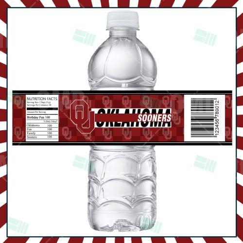 Oklahoma Sooners Sports Bottle Labels