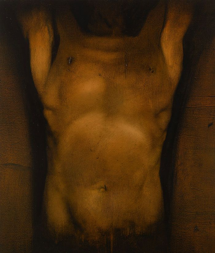 """Torso Variations III"" - Tomas Watson, 2009, oil on linen; London, England {male human anatomy chest stomach painting}"