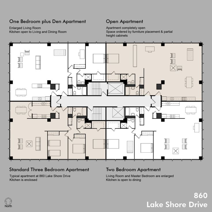 Chicago Architecture: Mies van der Rohe designed the 860|880 buildings so that it is easy to change an apartment's layout and easy to combine units to create a larger living space. 860_Floor_Plans_Including_Standard_Apt