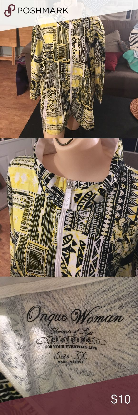 Oneque Woman light  yellow/black/white jacket Great jacket. Great design and color. Oneque Woman Elements of Style. size 3X. Black and white with yellow. 100% cotton Onque Woman Tops Sweatshirts & Hoodies